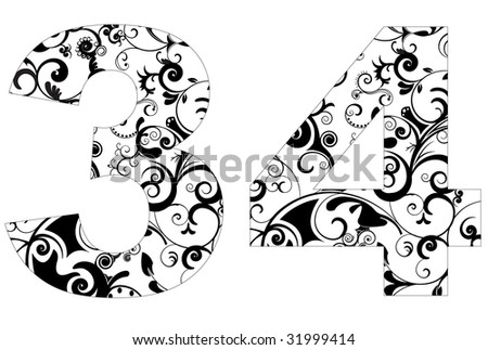 number design element with floral texture