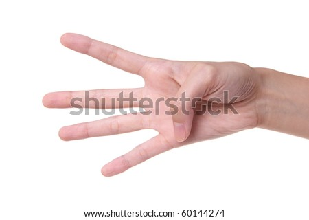 Number 4 designated by fingers on a white background - stock photo