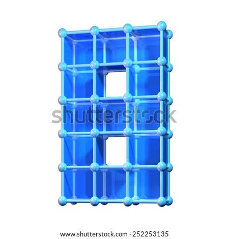 Number eight, 8. 3D molecular structure. Numerals isolated on white background. - stock photo