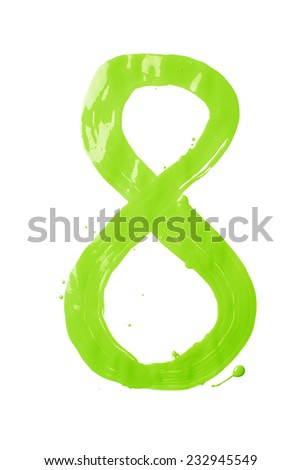 Number eight digit character hand drawn with the oil paint brush strokes isolated over the white background - stock photo
