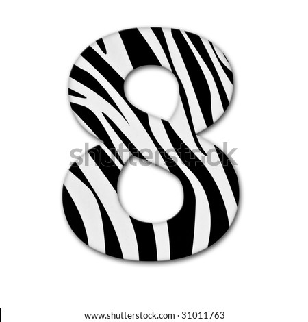Number eight. Made of animal print. It has a clipping path - stock photo