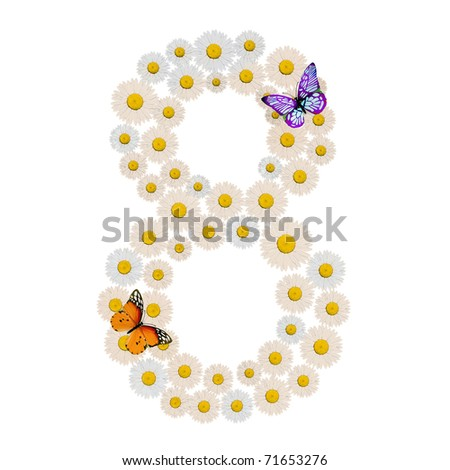 number eight made of Flowers with two Butterfly - stock photo