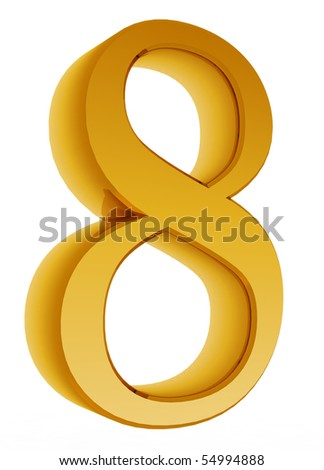 Number eight on a white background.