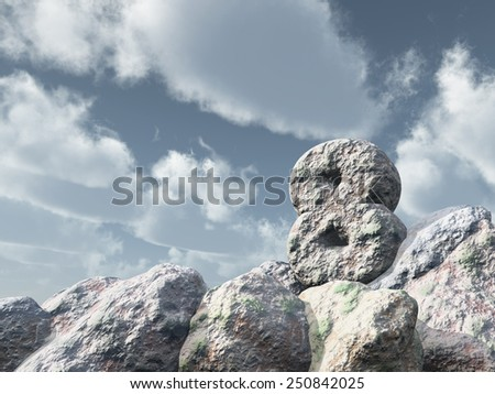number eight rock under cloudy blue sky - 3d illustration - stock photo