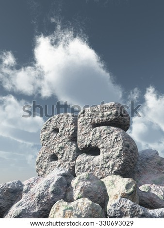 number eighty five rock under cloudy blue sky - 3d illustration - stock photo