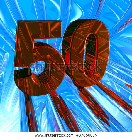 number fifty in abstract space - 3d illustration