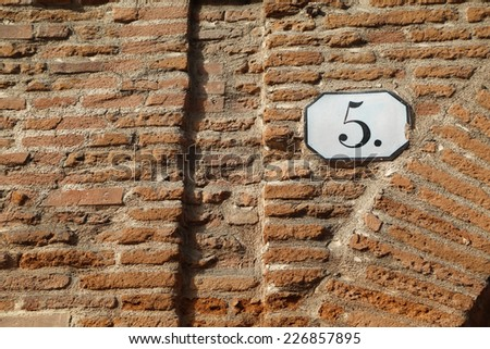 number 5 five - stock photo