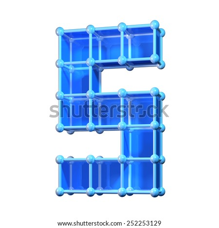 Number five, 5. 3D molecular structure. Numerals isolated on white background. - stock photo