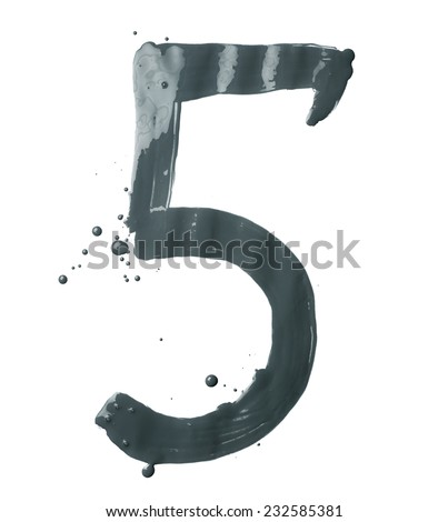 Number five digit character hand drawn with the oil paint brush strokes isolated over the white background - stock photo