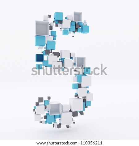 Number Five Made of Cubes 3d - stock photo