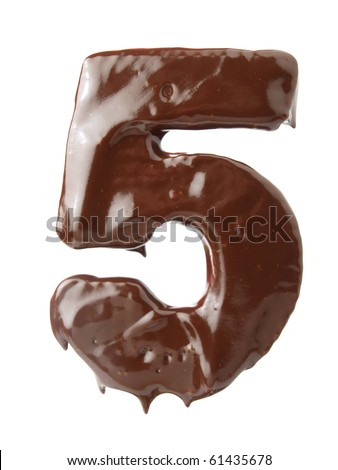 Number five of chocolate - stock photo
