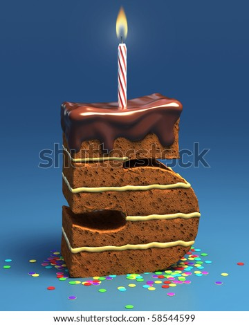 number five shaped birthday cake with candle - stock photo