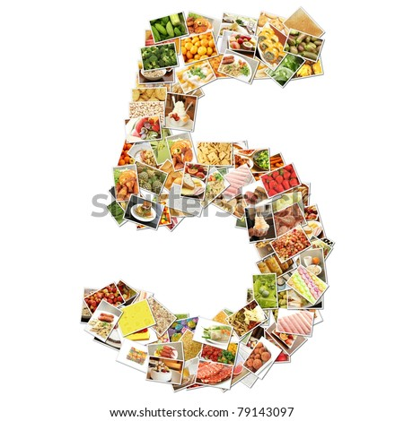 Number 5 Five with Food Collage Concept Art - stock photo