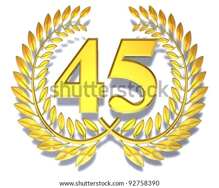 Number forty-five Golden laurel wreath with the number forty-five inside