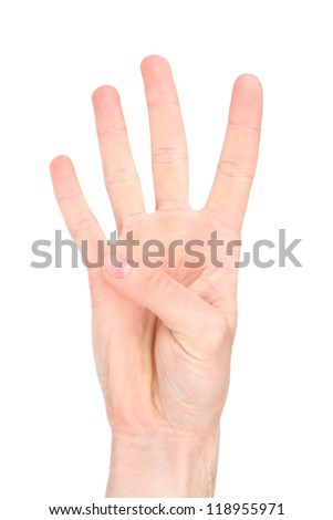 Number four in sign language - stock photo
