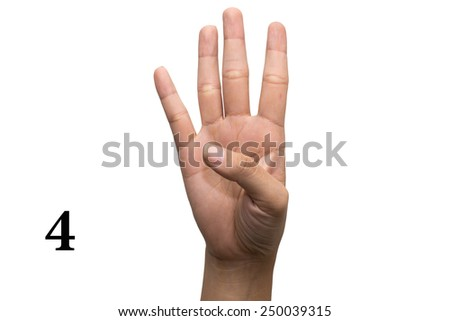 Number four in sign language. - stock photo