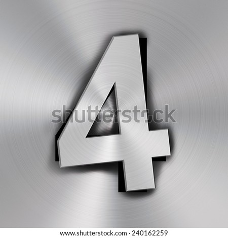 Number four on Metal background texture