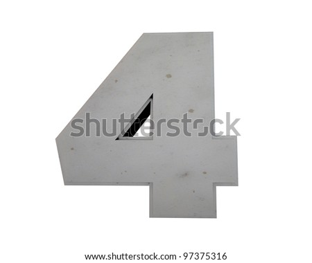 number four pure concrete isolated on white background