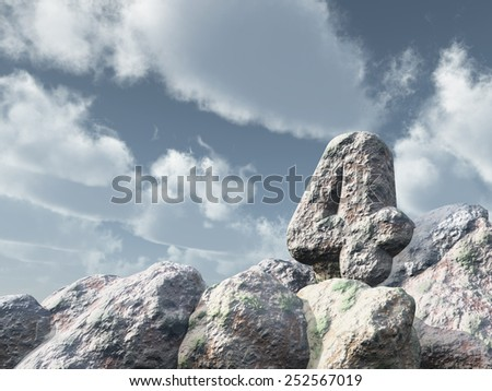 number four rock under cloudy blue sky - 3d illustration - stock photo