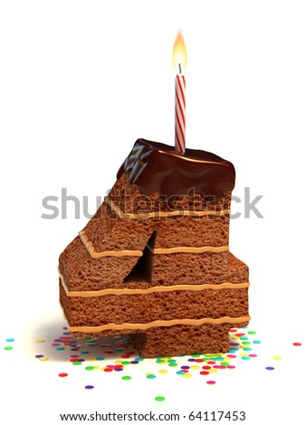 number four shaped chocolate birthday cake with lit candle and confetti - stock photo