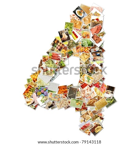 Number 4 Four with Food Collage Concept Art - stock photo