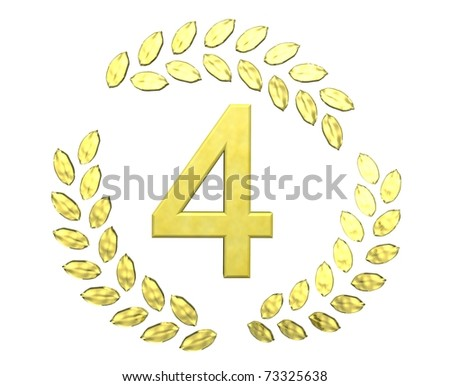 number four with laurel wreath - stock photo