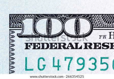 Number 100. Fragment of new $100 banknotes close-up. - stock photo
