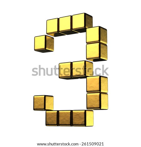 Number 3 from big cube gold perspective alphabet. There is a clipping path - stock photo