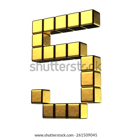 Number 5 from big cube gold perspective alphabet. There is a clipping path - stock photo