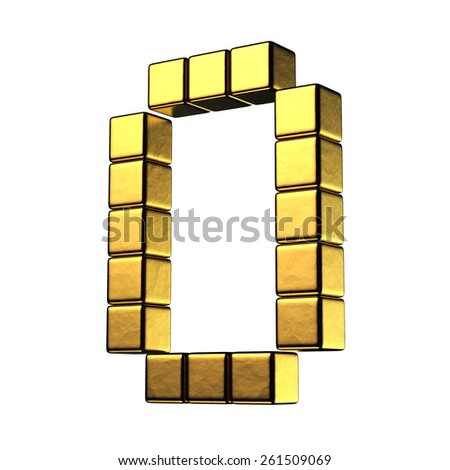 Number 0 from big cube gold perspective alphabet. There is a clipping path - stock photo