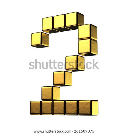 Number 2 from big cube gold perspective alphabet. There is a clipping path - stock photo