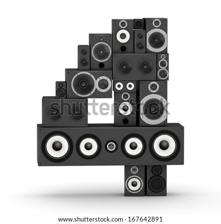 Number 4 from black woods hi-fi speakers sound systems - stock photo