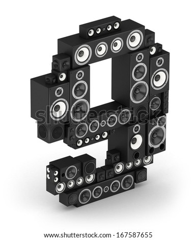 Number 9 from black woods hi-fi speakers sound systems in isometry - stock photo