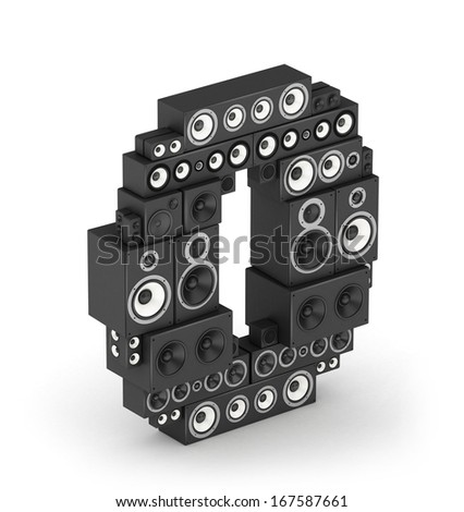 Number 0 from black woods hi-fi speakers sound systems in isometry - stock photo