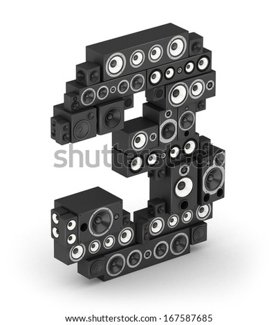 Number 3 from black woods hi-fi speakers sound systems in isometry - stock photo