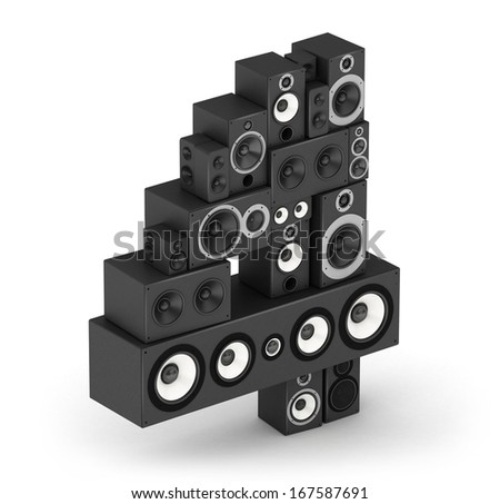 Number 4 from black woods hi-fi speakers sound systems in isometry - stock photo