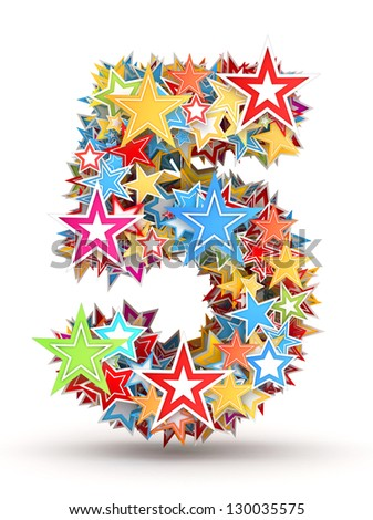Number 5, from bright colored holiday stars staked - stock photo