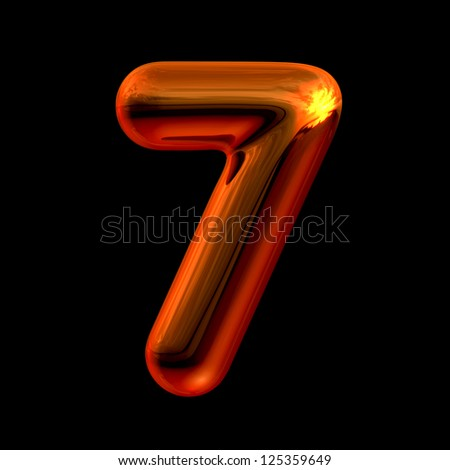 Number 7 from chrome orange sunset alphabet. There is a clipping path - stock photo