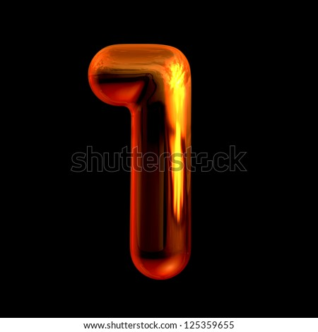 Number 1 from chrome orange sunset alphabet. There is a clipping path - stock photo