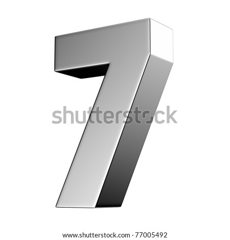 Number 7 from chrome solid alphabet. There is a clipping path - stock photo