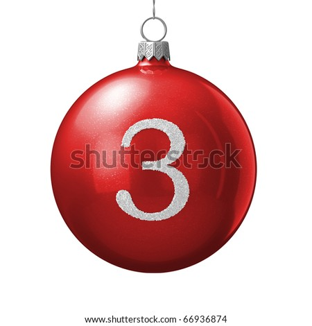Number 3 from cristmas ball alphabet. There is a clipping path - stock photo