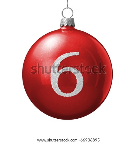 Number 6 from cristmas ball alphabet. There is a clipping path - stock photo