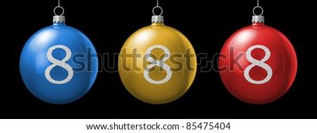 Number 8 from cristmas ball alphabet. There is a clipping path - stock photo
