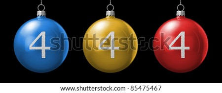 Number 4 from cristmas ball alphabet. There is a clipping path - stock photo