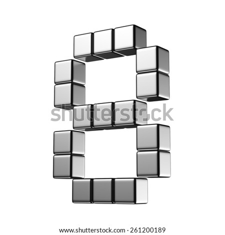 Number 8 from digital cube middle perspective alphabet. There is a clipping path - stock photo