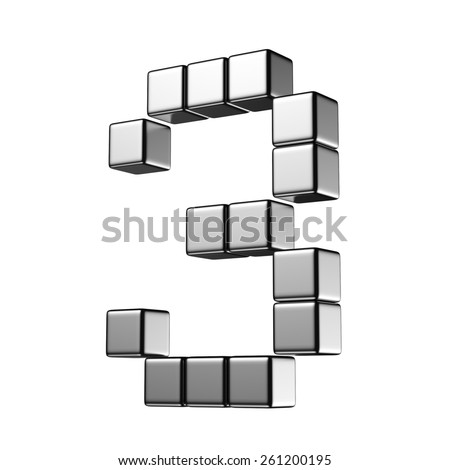 Number 3 from digital cube middle perspective alphabet. There is a clipping path - stock photo