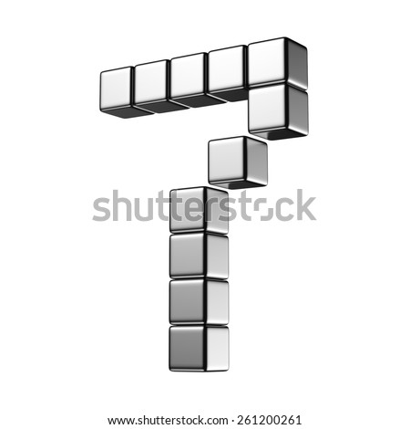 Number 7 from digital cube middle perspective alphabet. There is a clipping path - stock photo