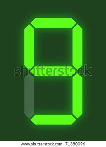 Number 9 from digital display series - stock photo