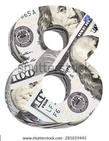 Number from dollar bill alphabet set isolated over white. Computer generated 3D photo rendering. - stock photo