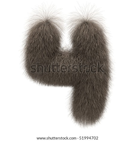 Number 4 from fur alphabet - stock photo